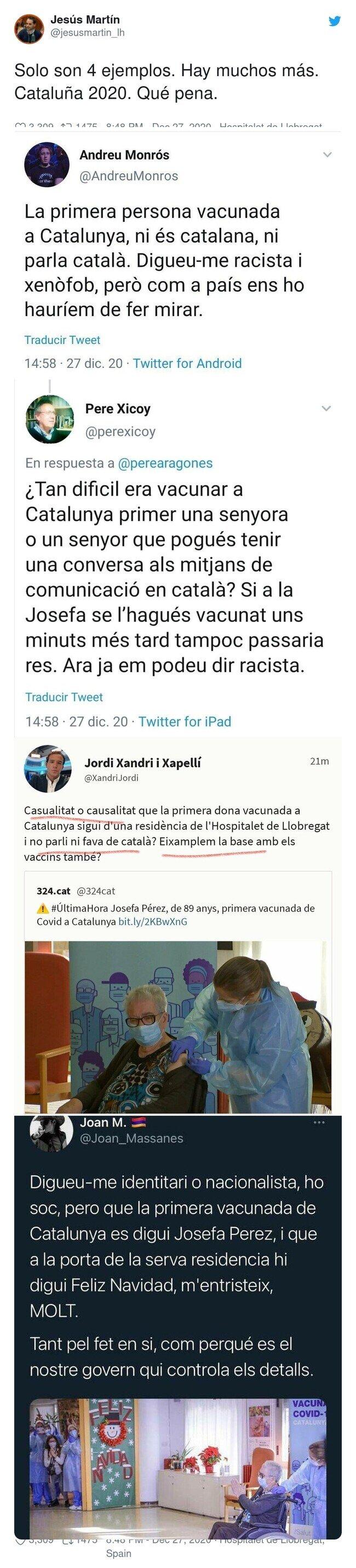21450 - Esto es lo que opinan algunos catalanes de la primera mujer vacunada en Catalunya