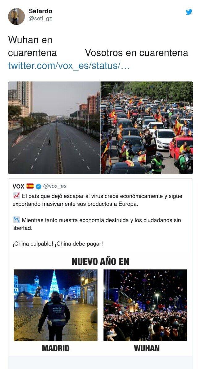 21588 - VOX compara como se trató el virus en China y en España, y se acaban llevando un zasca, por @seti_gz