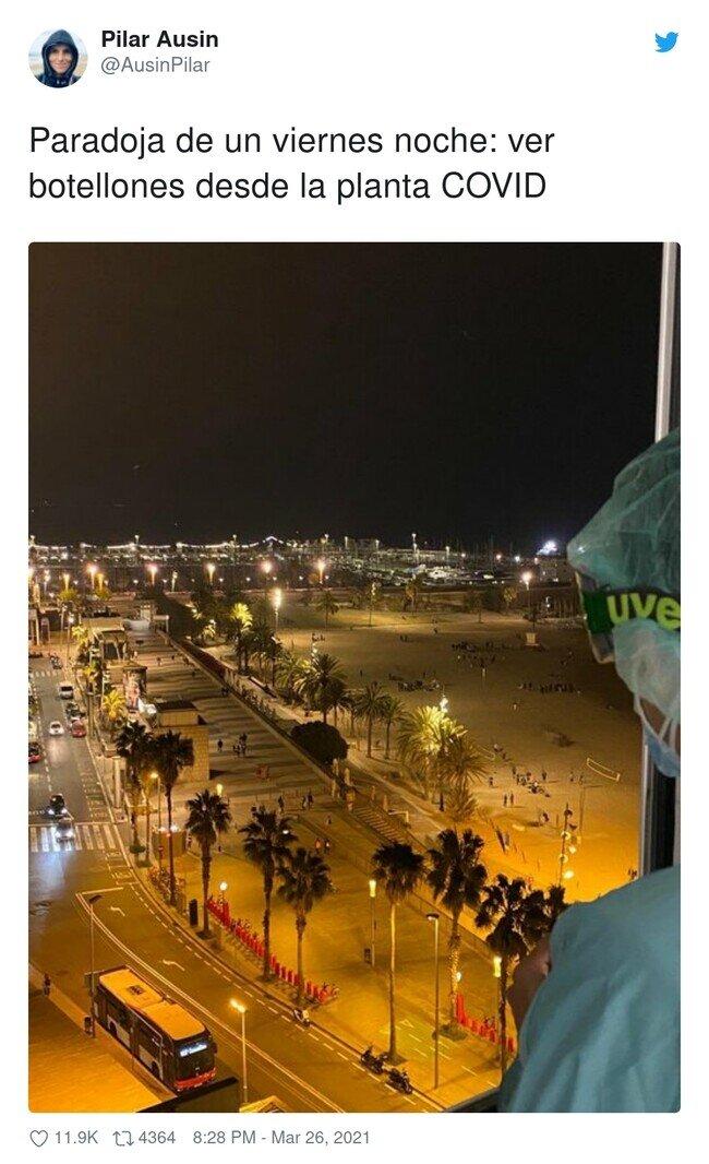 22782 - Una enfermera publica una foto vergonzosa de lo que ve por la ventana del hospital viernes noche , por @AusinPilar