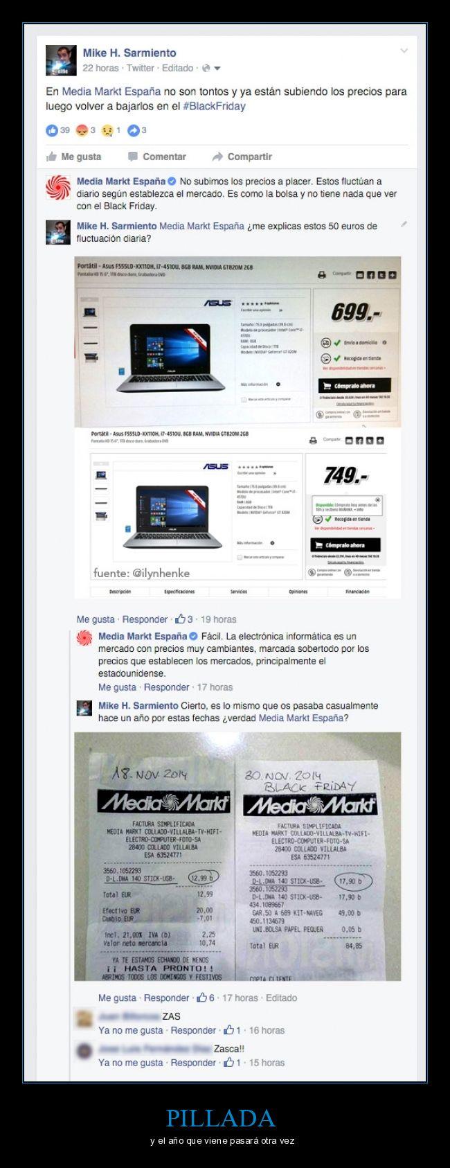 black friday,engaño,media markt,mediamarkt,ordenador,pillada,precio,subida,zasca