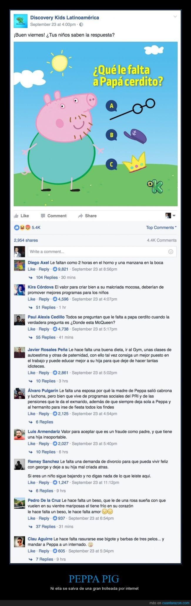 comentarios,discovery kids,facebook,peppa pig,trolls