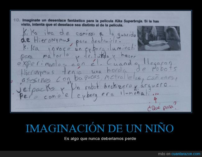 flipada,imaginación,niño,redacción
