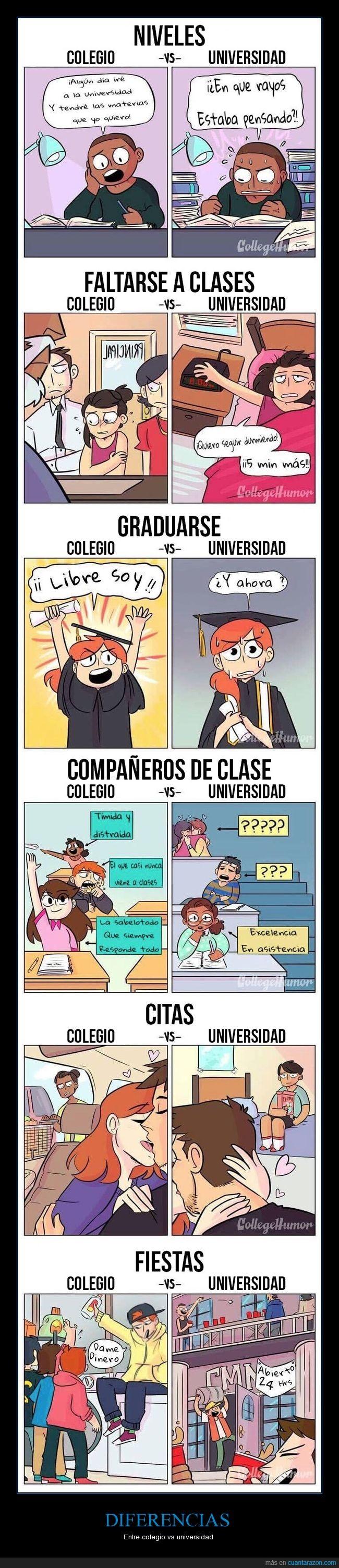 clases,colegio,diferencias,universidad
