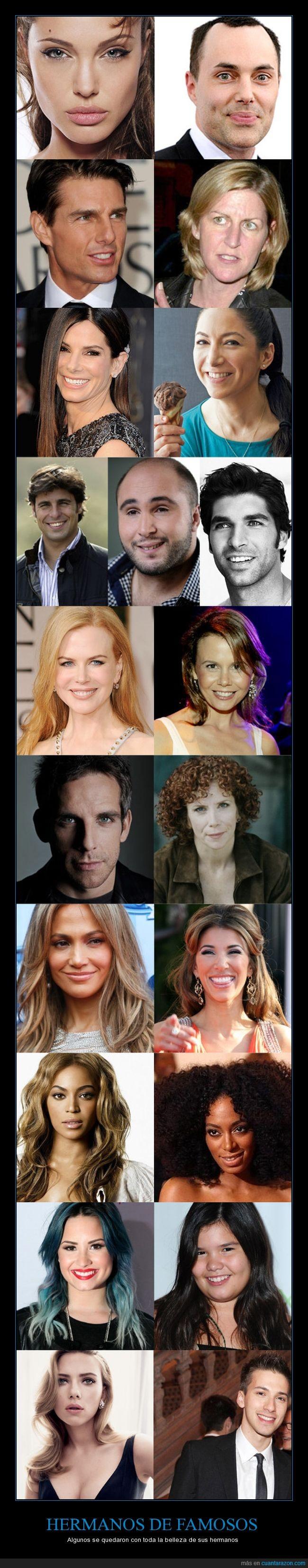 belleza,diferencia,diferente,estrellas,famosos,genética,hermanos,parecido