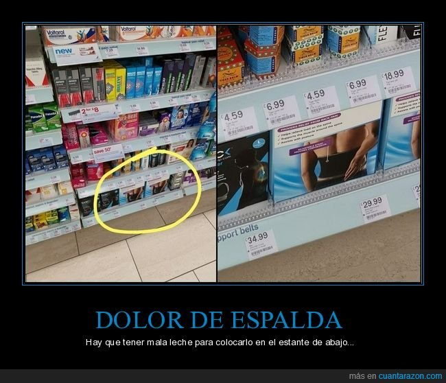 agacharse,dolor de espalda,estante,supermercado