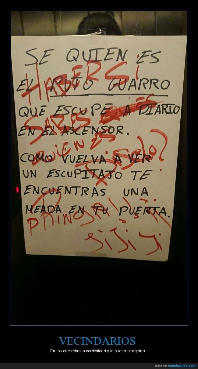 cartel,escupir,ortografía,vecinos