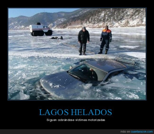 coche,fails,hielo,lago