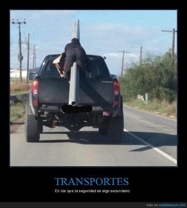 coche,seguridad,transportando,tubos