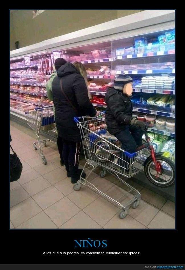 bicicleta,carrito,niño,supermercado