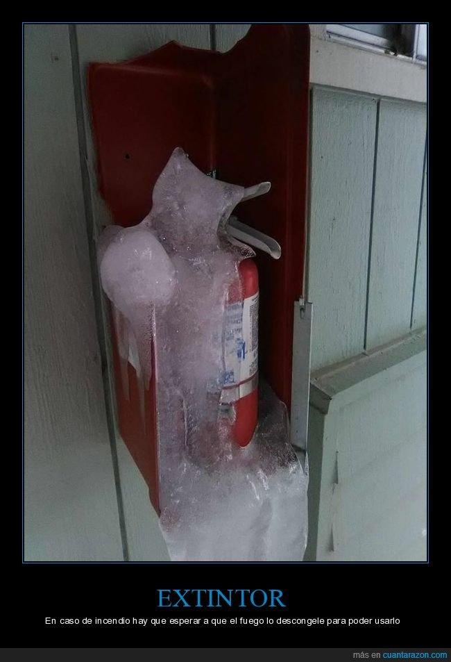 extintor,hielo.congelado