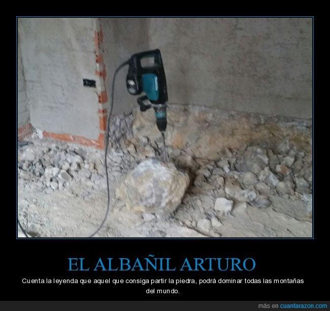 albañilería,rey arturo,roca,taladro