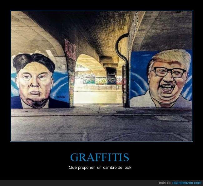 donald trump,graffiti,kim jong un,pelo