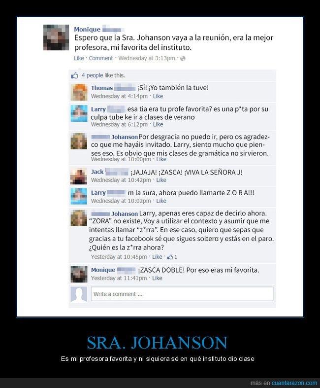 facebook,profesora,zasca