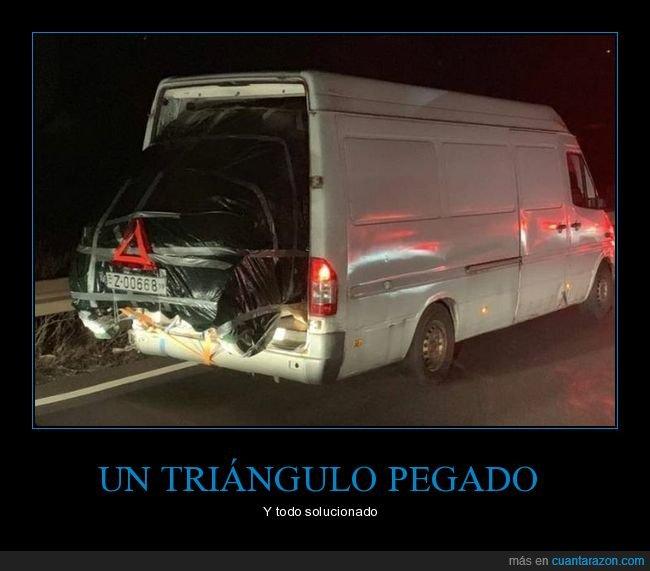 coche,furgoneta,transportando,triángulo