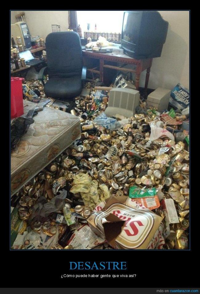 basura,desastre,habitación,latas