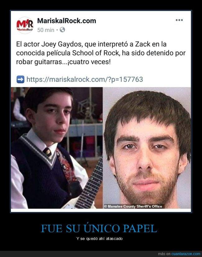 detenido,escuela de rock,guitarra,guitarras,joey gaydos,robar,wtf