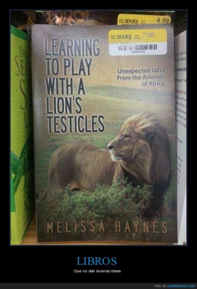 jugar,leones,libro,testículos