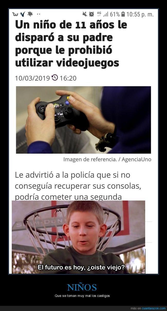 disparar,niño,padre,prohibir,videojuegos