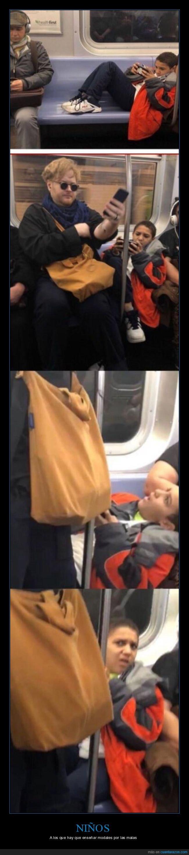 asiento,metro,niño,sentarse