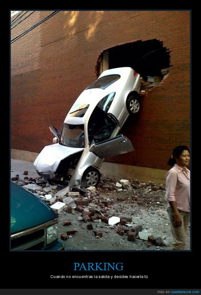 coche,fails,pared,parking