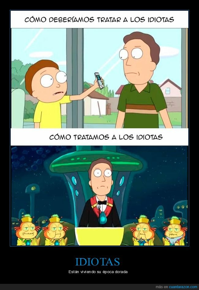 idiotas,jerry,rick y morty,tratar