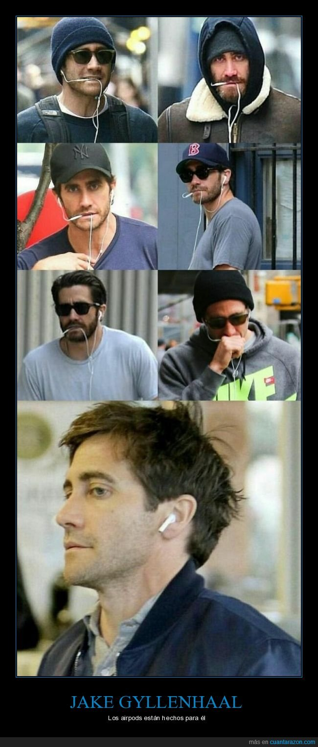 airpods,auriculares,cables,jake gyllenhaal
