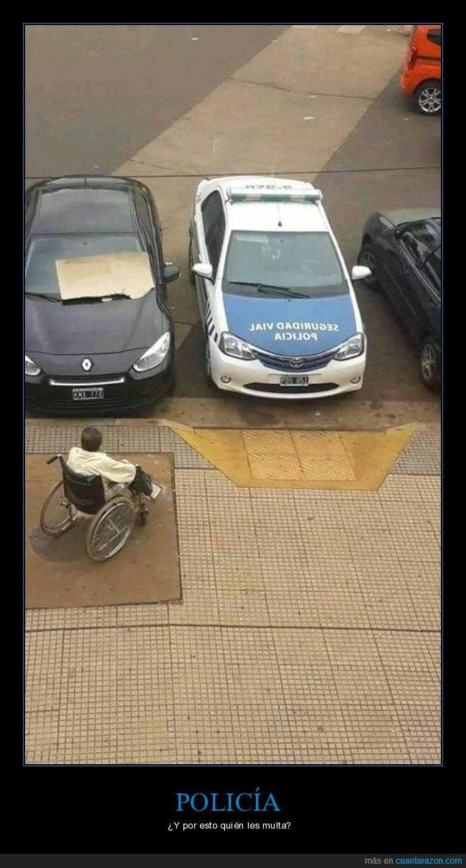 coche,minusválidos,policía,rampa,silla de ruedas