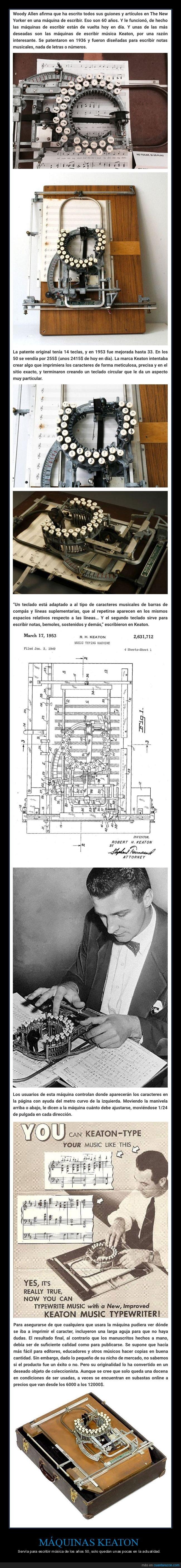 años 50,escribir música,máquina keaton