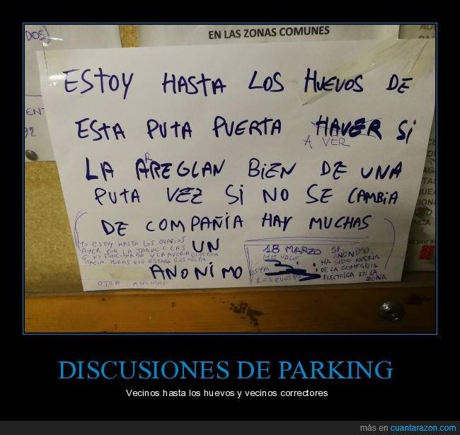 huevos,parking,pelea,puerta,vecinos,wtf