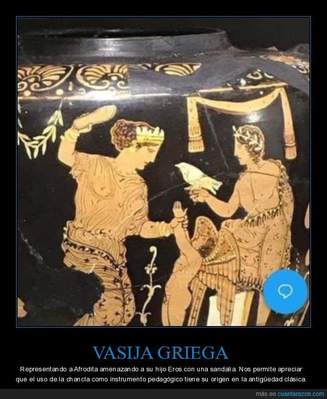 afrodita,chancla,eros,griegos,vasija