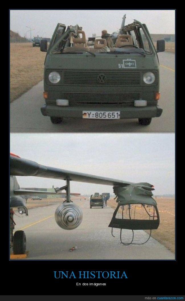 avión,fails,furgoneta,techo,wtf