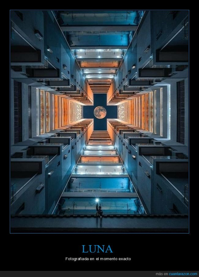 edificio,luna,momento exacto