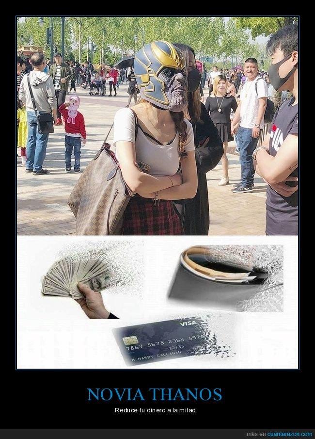 dinero,máscara,novia,thanos