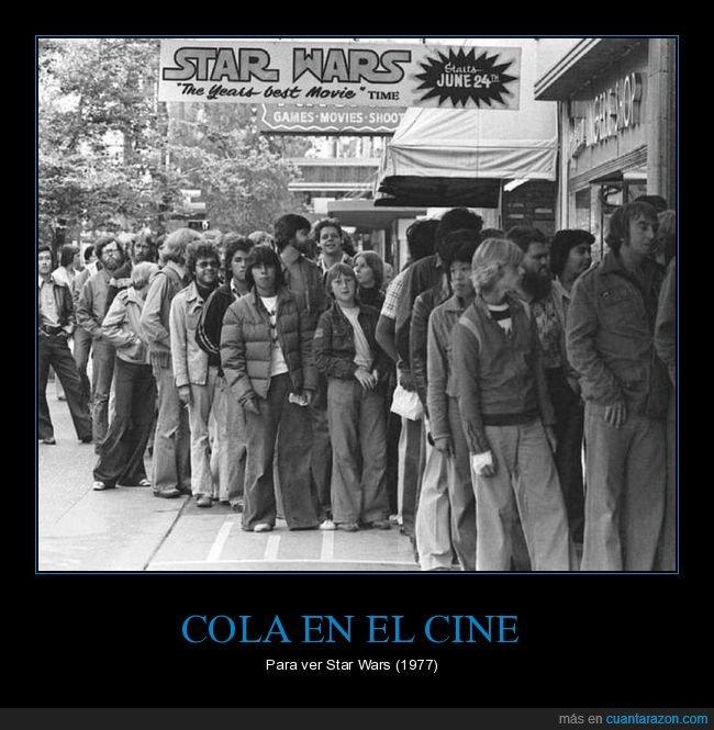 1977,cine,cola,estreno,retro,star wars