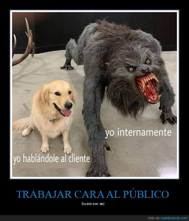 cliente,hablando,hombre lobo,internamente,perro