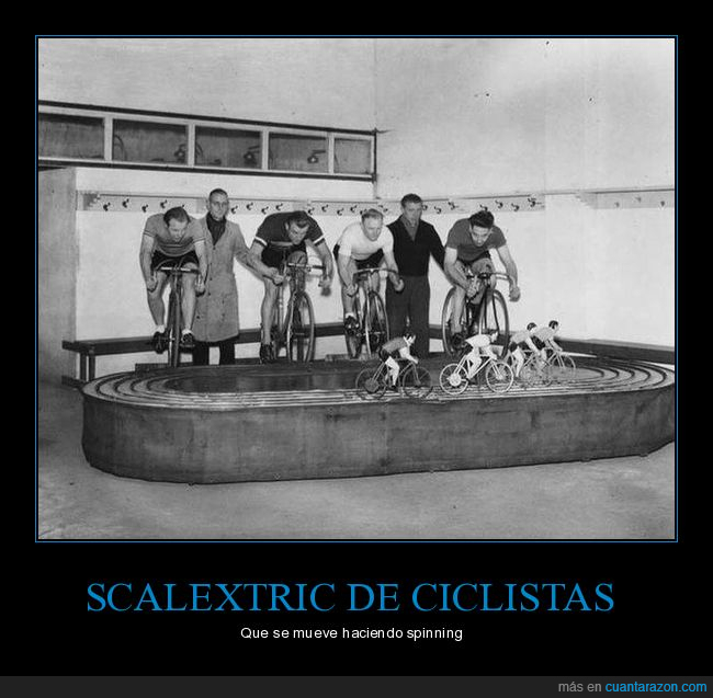 bicicletas,ciclistas,scalextric,spinning