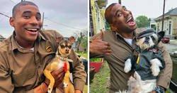 Enlace a Este conductor de UPS se entretiene en el trabajo fotografiándose con todos los perros que encuentra