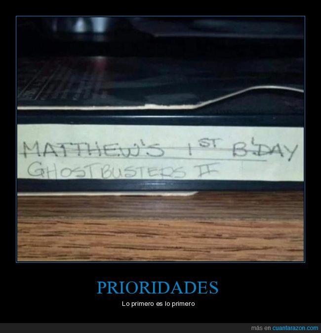 cazafantasmas ii,cinta,cumpleaños,vhs