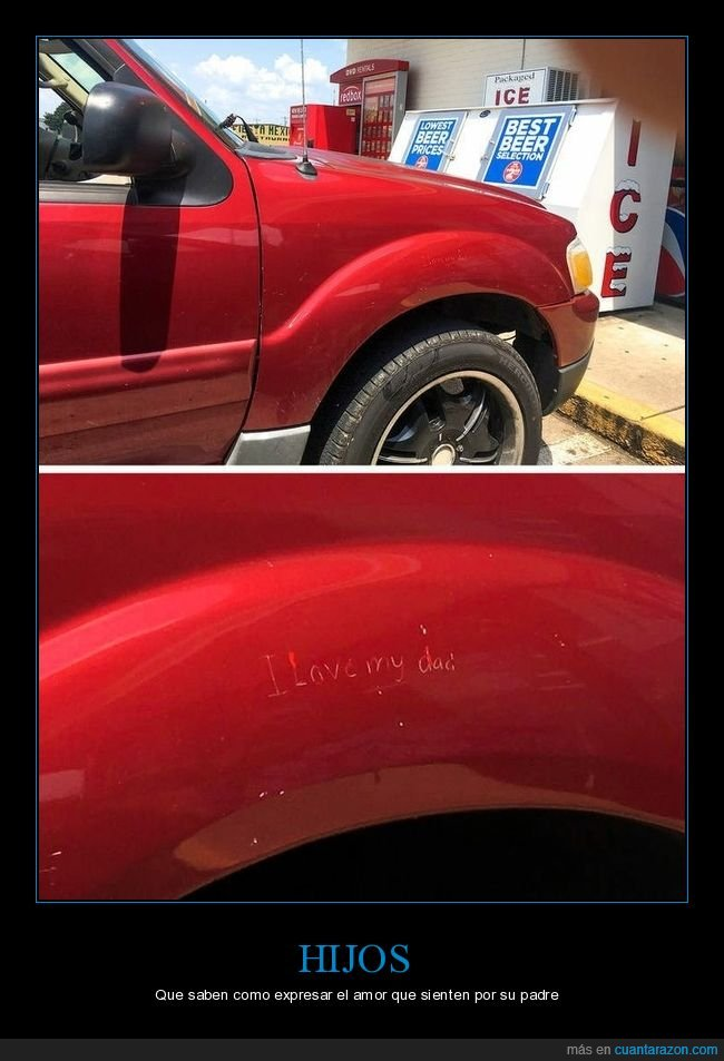 coche,hijo,rayado