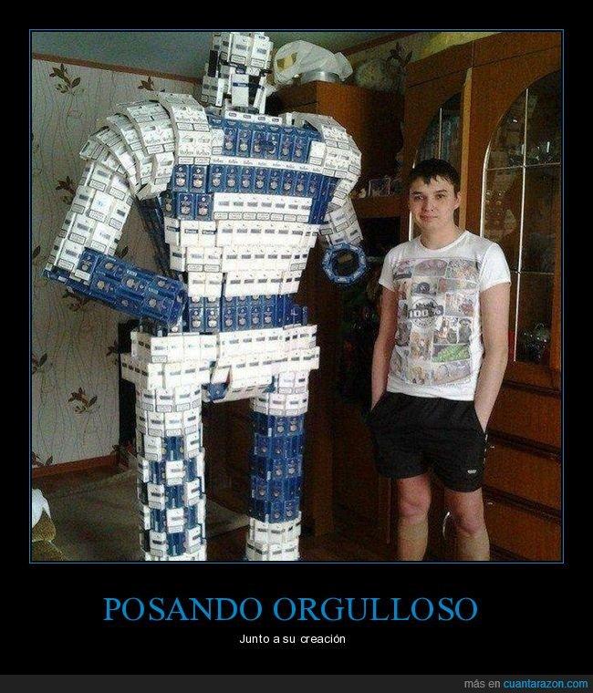 cajas de tabaco,escultura,robot