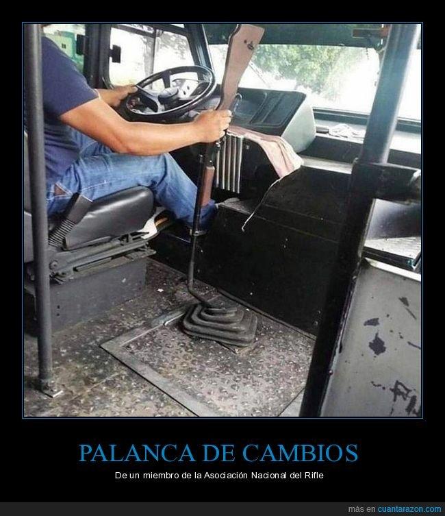 autobús,palanca de cambios,rifle
