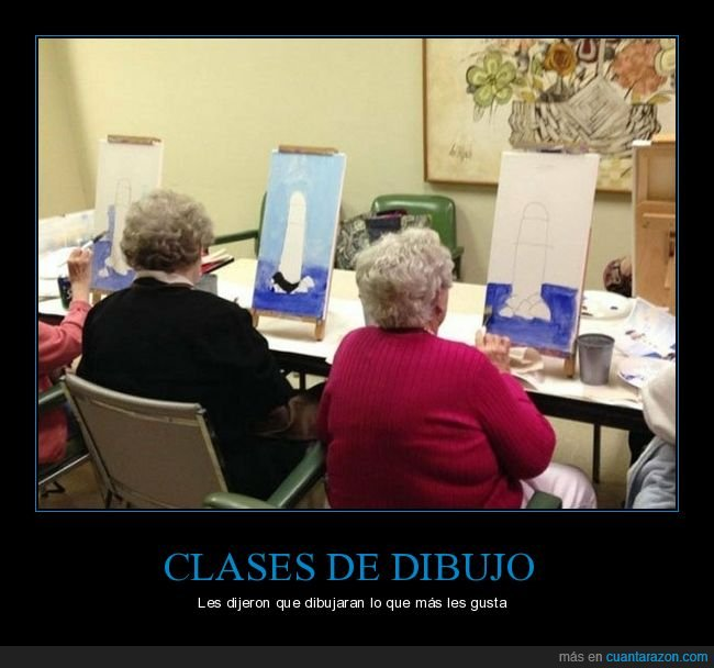 abuelas,clases de dibujo,faro,pintando