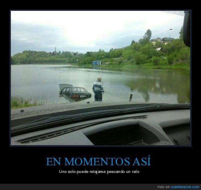 coche,fails,pescando,río,wtf