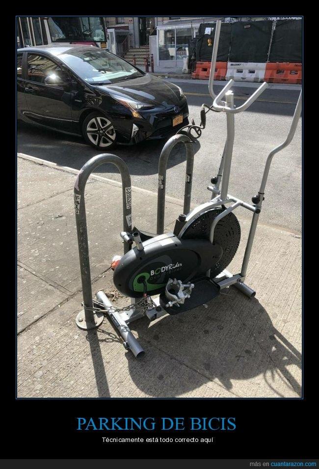 bicicleta,bicicleta estática,parking,wtf
