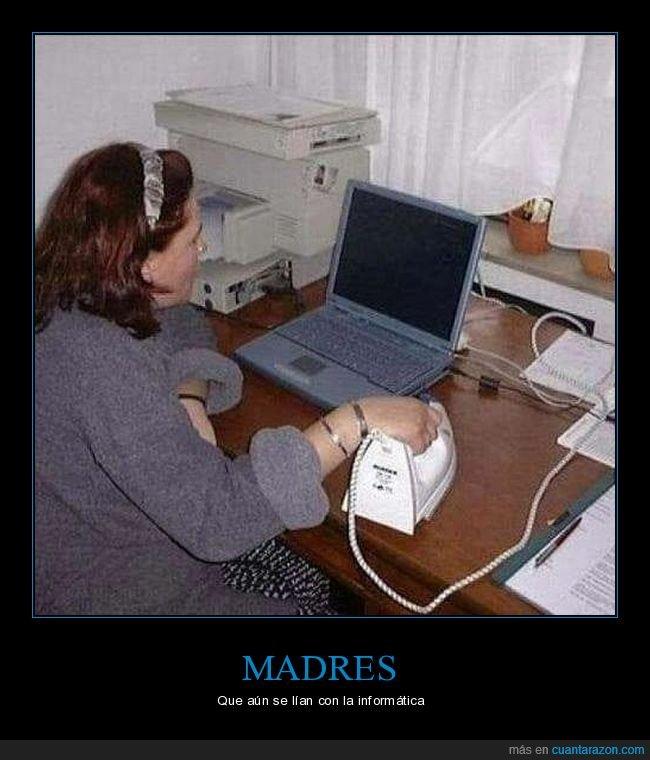 absurdo,ordenador,plancha,señora
