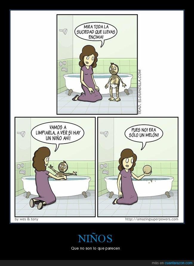 bañando,hijo,madre,melón,niño,suciedad