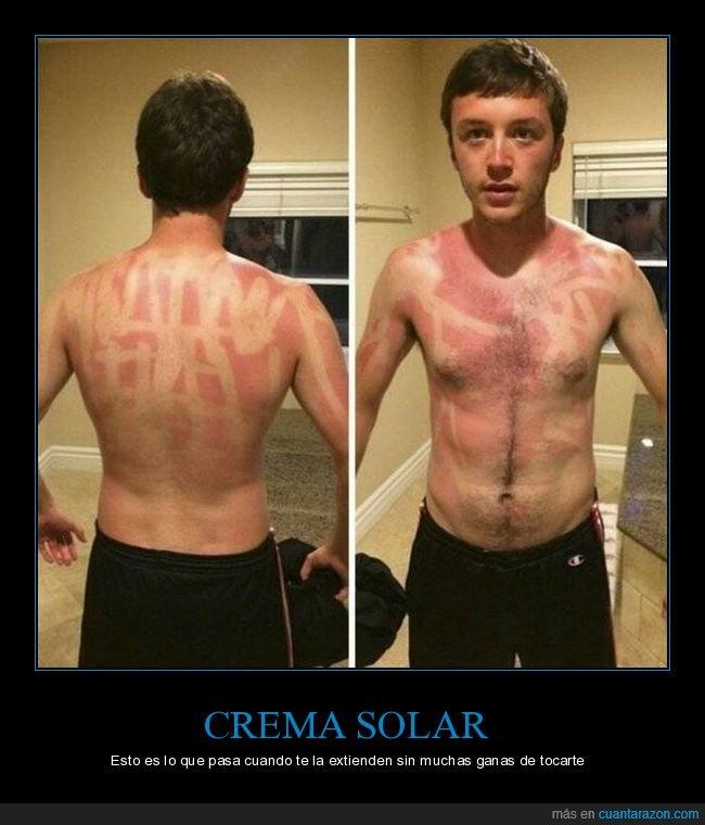 crema solar,fails,quemado