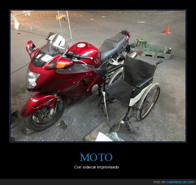 moto,sidecar,silla de ruedas