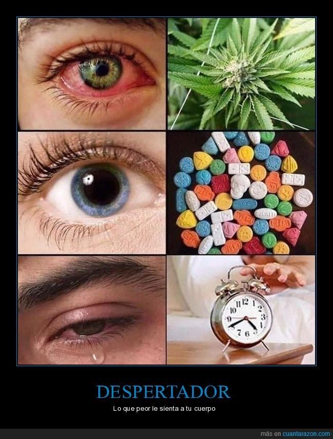 despertador,drogas,ojo