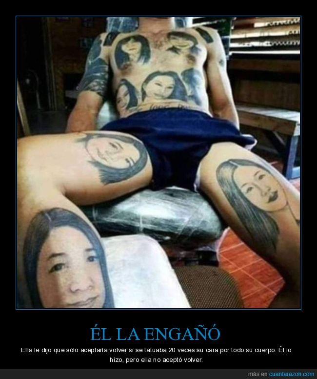 cara,engañar,fails,pareja,tatuarse